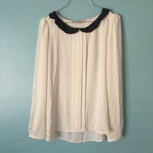 Ann Taylor Loft Long sleeve Top | Ivory White